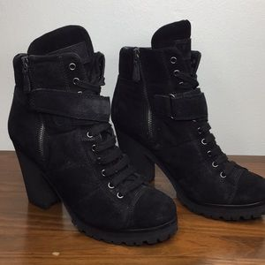 PRADA Black Suede Lace Up Booties Size 38